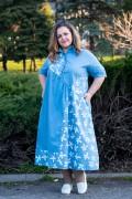 Макси рокля от памук в небесно синьо