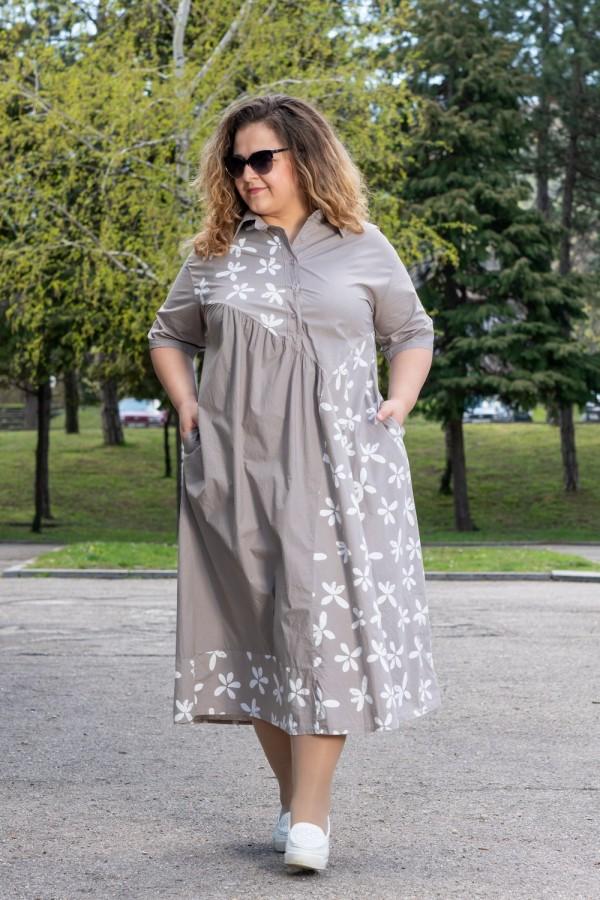 Макси дамска рокля в бежово на цветя