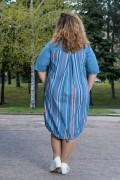 Макси дамска рокля в опушено синьо и цветни шевици