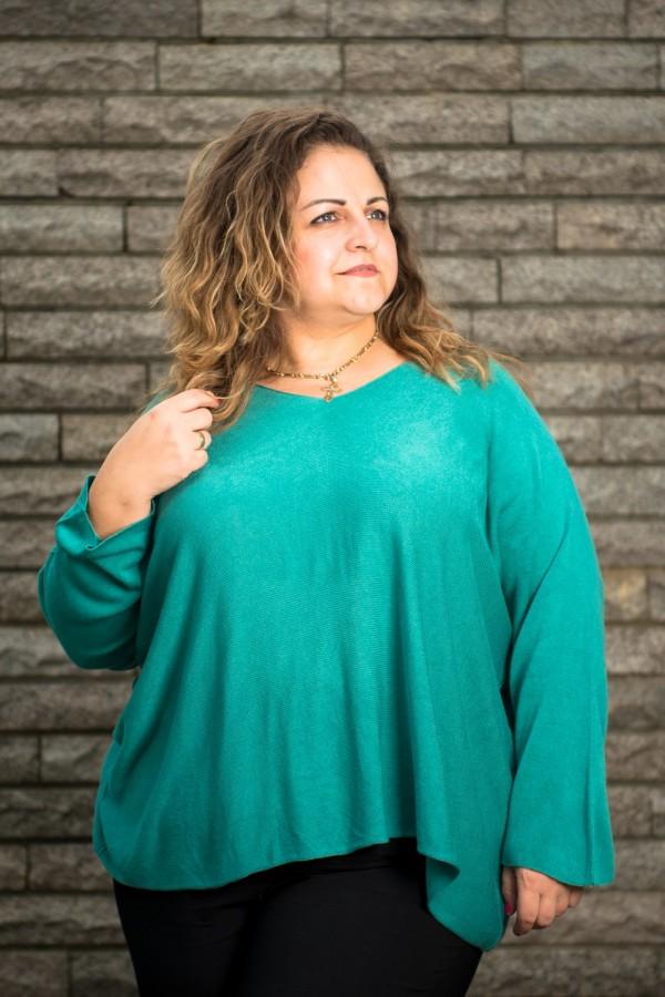 Макси блуза от фино плетиво в морско зелен цвят