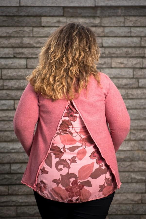 Макси розова блуза от фино плетиво