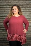 Макси блуза от фино плетиво в матиран розов цвят
