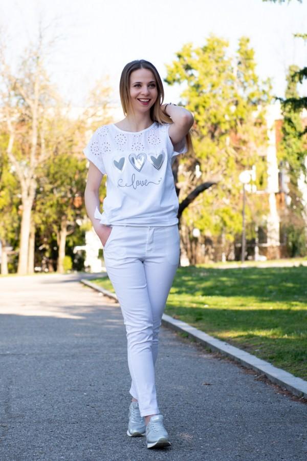 Дамски памучен панталон в бяло