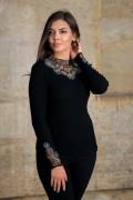 Дамски фино плетен пуловер с рипс