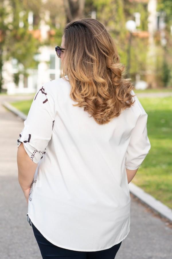 Макси дамска риза от лека материя в бяло