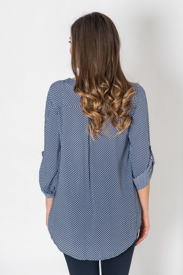 Дамска блуза в тъмно синьо на бели точки