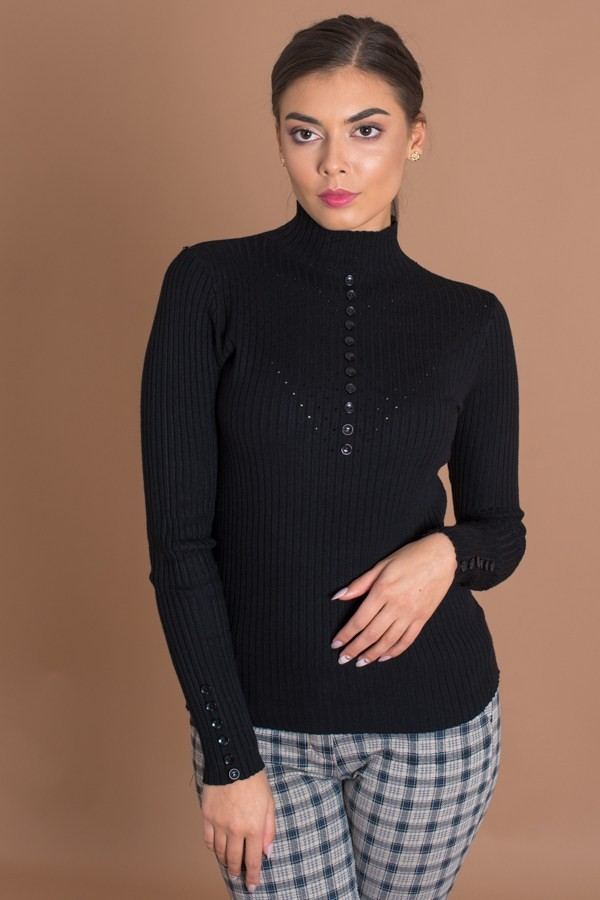 Дамска рипсена блуза в черно с поло яка