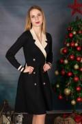 Дамска рокля с ревер от фино плетиво в черно