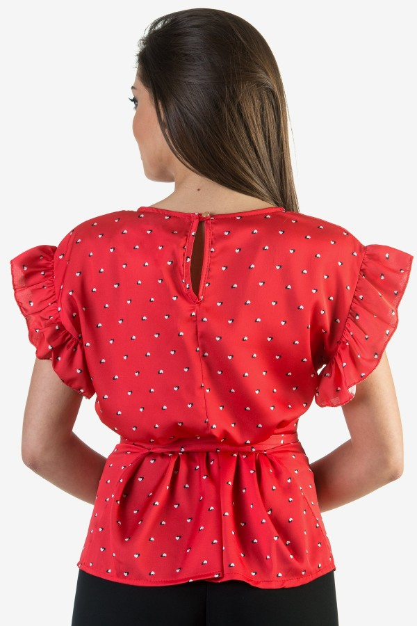 Сатенена дамска блуза в червен цвят