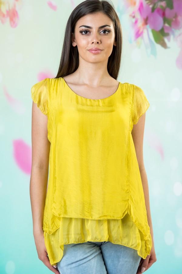 Копринена дамска блуза в жълт цвят