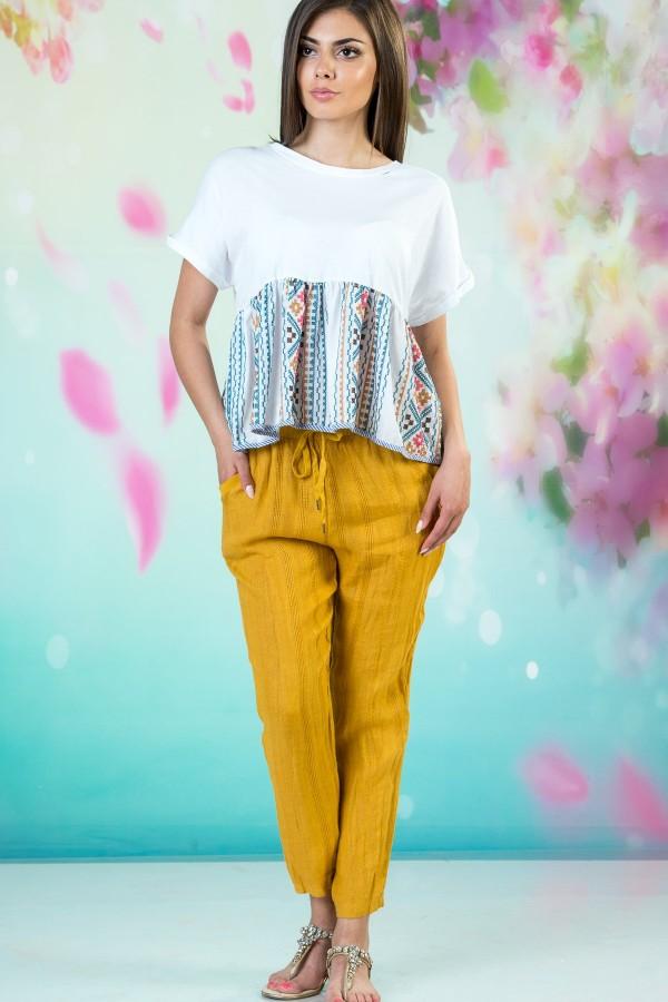 Дамски ленен панталон в жълт цвят