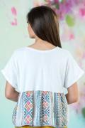 Памучна дамска блуза в бял цвят