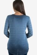 Дамска синя блуза в райе