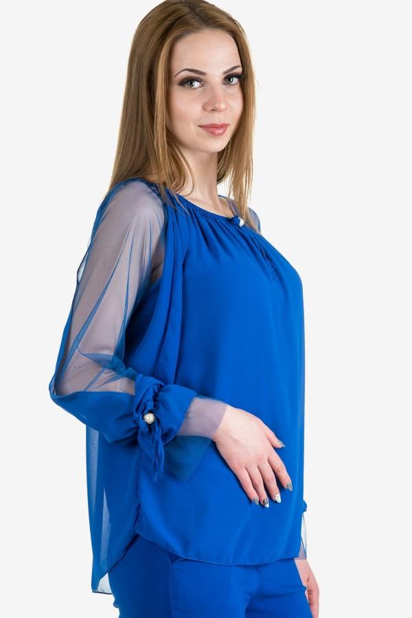 Елегантна шифонена блуза в синьо