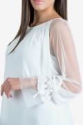Елегантна шифонена блуза в бял цвят