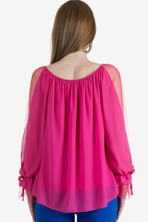 Елегантна шифонена блуза в цикламено
