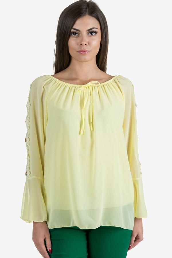Шифонена елегантна блуза в жълто