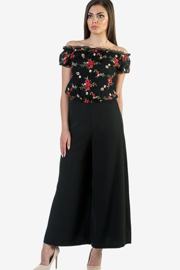 Дантелена дамска блуза на цветя