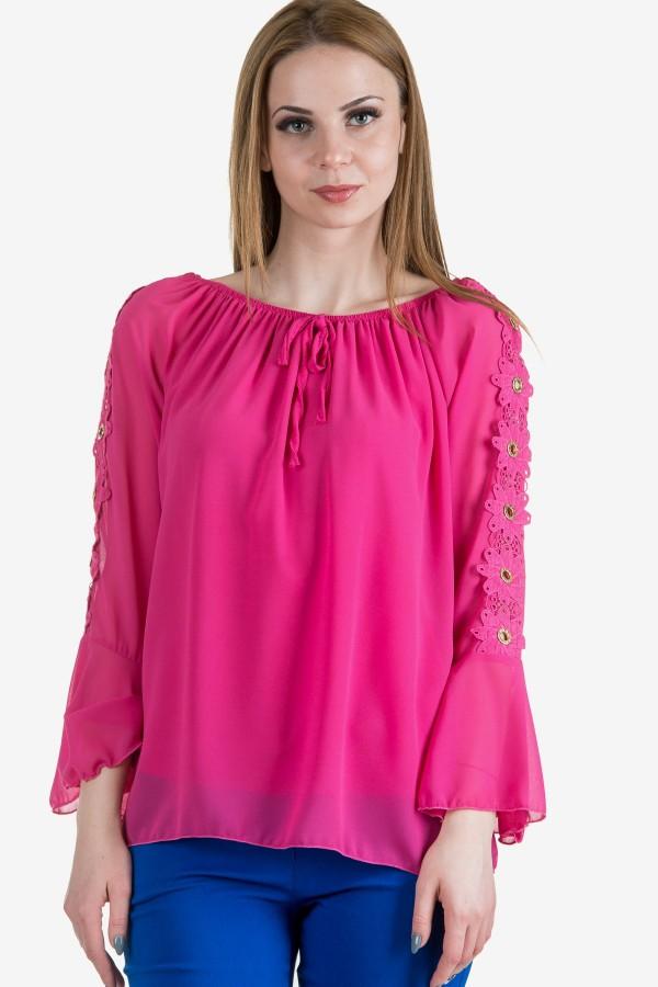 Шифонена елегантна блуза в розово