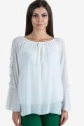 Шифонена елегантна блуза в бяло