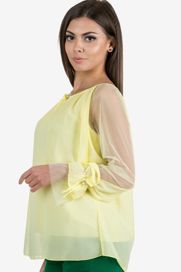 Елегантна шифонена блуза в жълт цвят