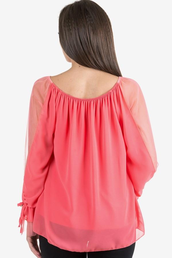 Елегантна шифонена блуза в розов цвят