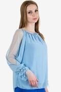 Елегантна шифонена блуза в небесно син цвят