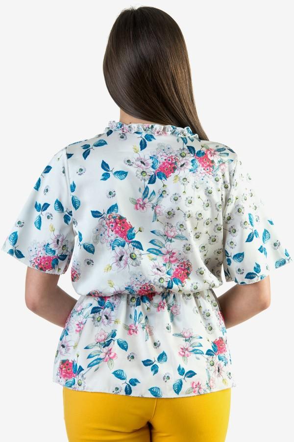 Сатенена бяла блуза на цветя