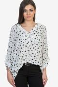 Дамска блуза в бял цвят на звезди