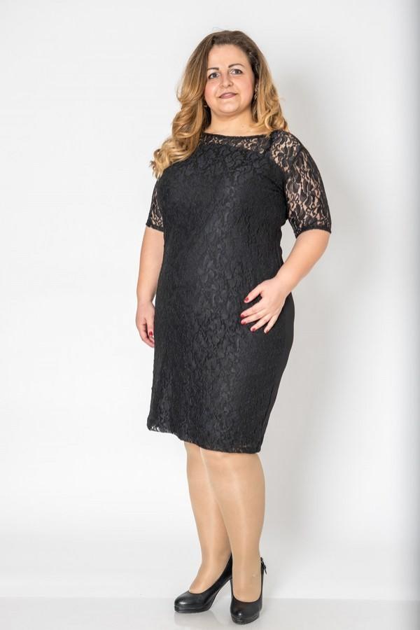 Дантелена макси черна рокля с 3/4 ръкав