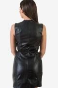 Черна дамска кожена рокля