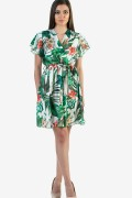 Сатенена дамска рокля на цветя