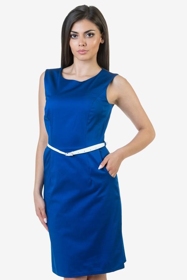 Памучен дамски сукман в син цвят