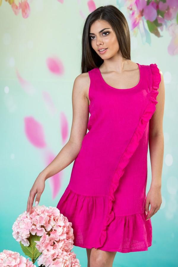 Дамска ленена рокля в цикламен цвят