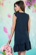Дамска ленена рокля в тъмно син цвят