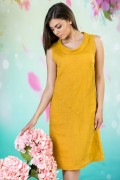 Дамска ленена рокля в цвят охра