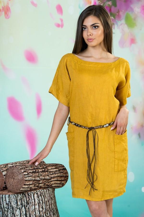 Дамска ленена рокля с колан в цвят охра