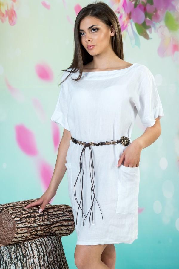 Бяла дамска ленена рокля с колан