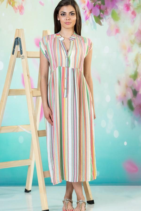 Дълга ленена дамска рокля в райе