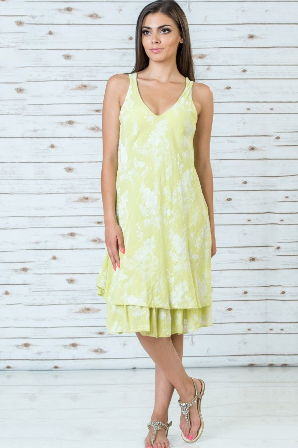 Памучна рокля на цветя в жълт цвят