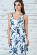 Памучна рокля на цветя бял цвят