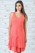 Памучна рокля на точки в розов цвят