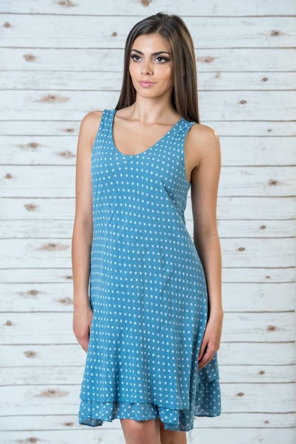 Памучна рокля на точки в син цвят