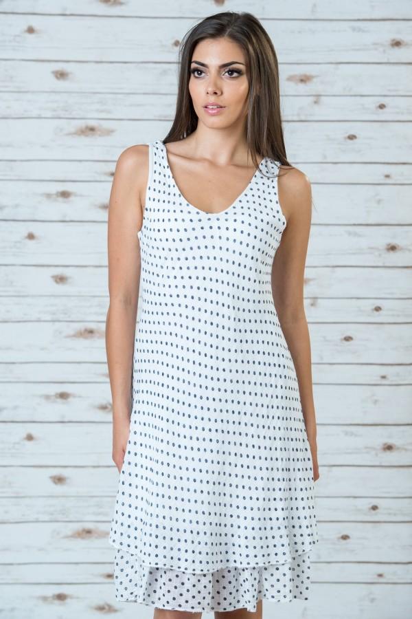 Памучн рокля на точки в бял цвят