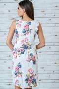 Ленена бяла дамска рокля на цветя