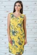 Ленена жълта дамска рокля на цветя