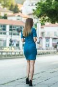 Елегантна дамска рокля в син цвят