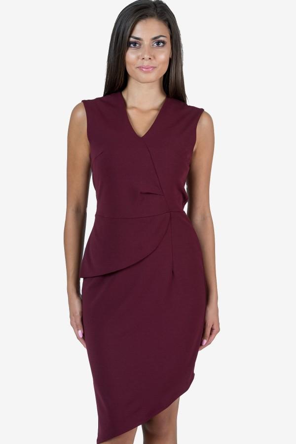 Асиметрична рокля в цвят бордо