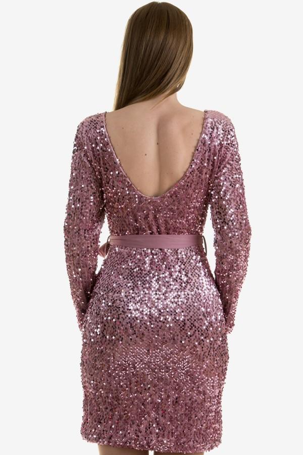 Дамска рокля с пайети в розов цвят