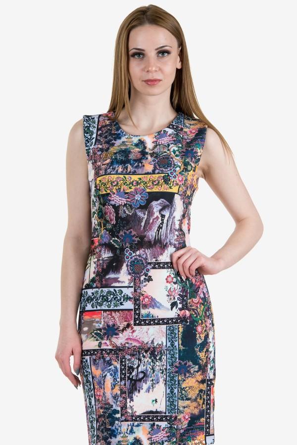 Дамска рокля с десен цветя